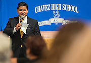 Superintendent Richard Carranza comments during a stop of his Listen & Learn Tour of the district at Chavez High School, September 15, 2016.