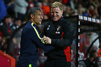 Football - 2017 / 2018 EFL (League) Cup - Third Round : AFC Bournemouth vs. Brighton and Hove Albion<br /> <br /> Bournemouth's Manager Eddie Howe greets Brighton Manager Chris Hughton before kick off at the Vitality Stadium (Dean Court) Bournemouth<br /> <br /> COLORSPORT/SHAUN BOGGUST