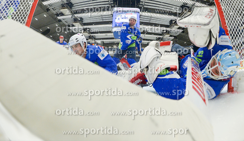 Klemen Pretnar of Slovenia, Tomaz Razingar of Slovenia and Luka Gracnar of Slovenia during Ice Hockey match between Russia and Slovenia at Day 3 in Group B of 2015 IIHF World Championship, on May 3, 2015 in CEZ Arena, Ostrava, Czech Republic. Photo by Vid Ponikvar / Sportida