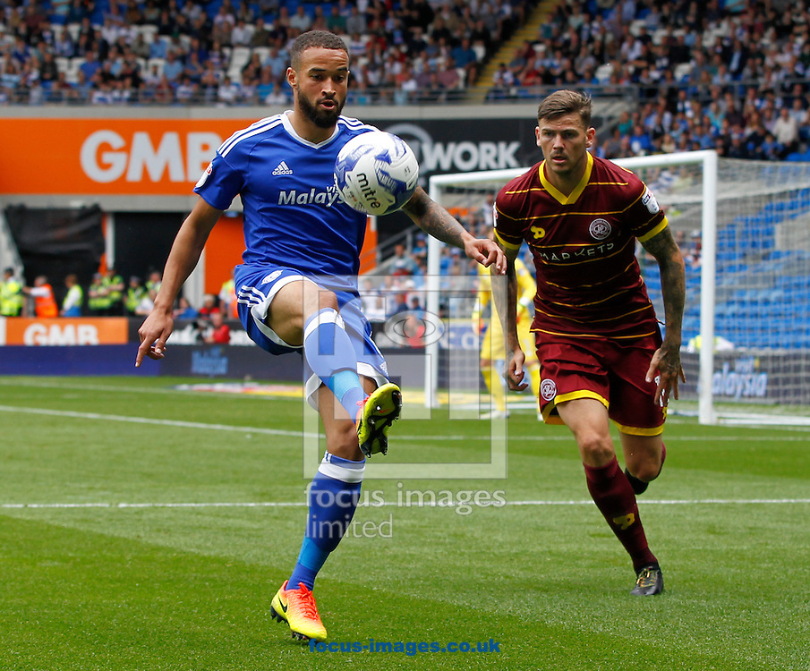 Jazz Richards of Cardiff City and Ben Gladwin of Queens Park Rangers during the Sky Bet Championship match at the Cardiff City Stadium, Cardiff<br /> Picture by Mike Griffiths/Focus Images Ltd +44 7766 223933<br /> 14/08/2016