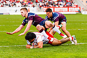 Hull Kingston Rovers prop Mose Masoe (10) scores a try  during the Betfred Super League match between Hull Kingston Rovers and Leeds Rhinos at the Lightstream Stadium, Hull, United Kingdom on 29 April 2018. Picture by Simon Davies.