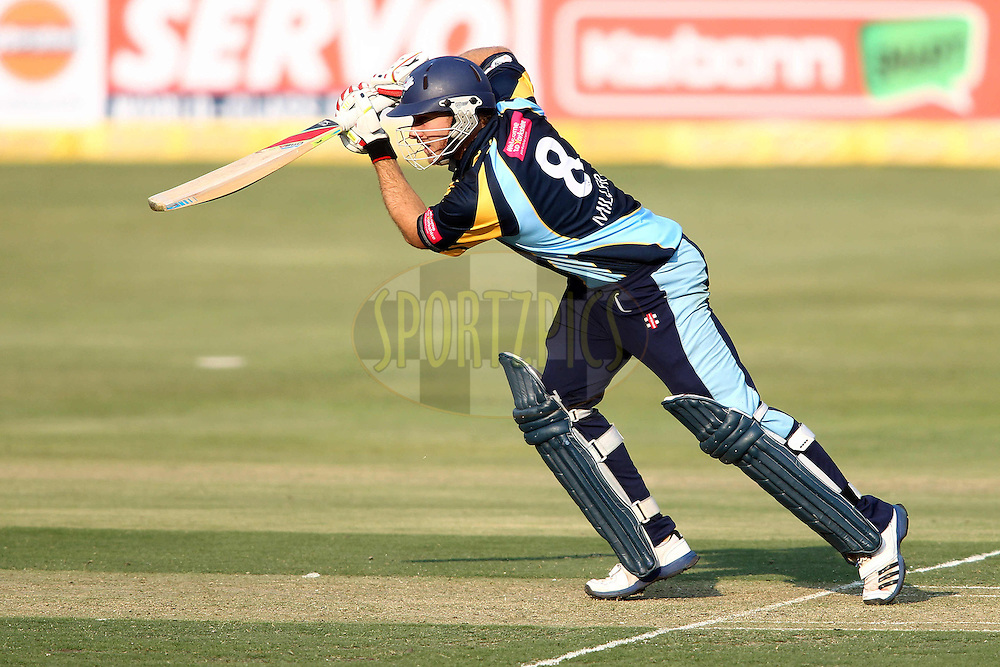 David Miller of Yorkshire Carnegie drives a delivery through the covers during 1st Qualifying match of the Karbonn Smart CLT20 South Africa between Uva Next and Yorkshire held at The Wanderers Stadium in Johannesburg, South Africa on the 9th October 2012..Photo by Shaun Roy/SPORTZPICS/CLT20
