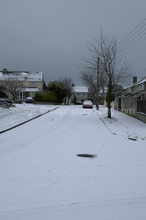 Snow covered roads in suburban in Dublin Ireland