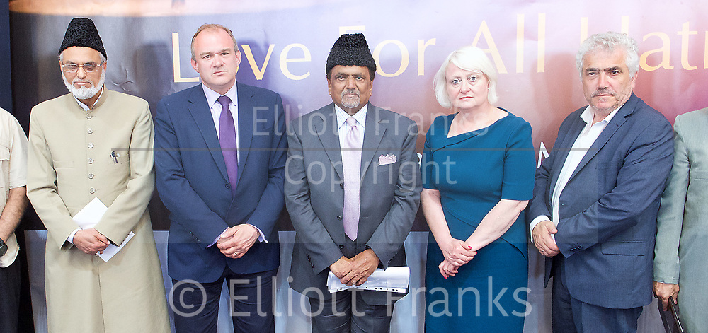 Sir Ed Davey former Energy Secretary &amp; Liberal Democrats candidate for Kingston &amp; Surbiton and Siobhan McDonagh Labour candidate for Mitcham &amp; Morden speak at the Baitul Futuh Mosque, at an event to commemorate the establishment of The Ahmadiyya Caliphate, a non-political caliphate established on May 27, 1908. &nbsp;<br /> <br /> Following on from the tragic events in Manchester, Ed discussed the events in Manchester and reasserted the importance of traditional liberal values in defeating extremism.&nbsp;<br /> <br /> Imam Ata Ul Mujeeb Rashid <br /> Sir Ed Davey <br /> Mr Rafiq Ahmed Hayat National President <br /> Siobhan McDonagh<br /> Stephen Alambritis - Merton Council leader <br /> <br /> 27th May 2017 <br /> at the Baitul Futuh Mosque, Morden, Surrey <br /> <br /> <br /> Photograph by Elliott Franks <br /> Image licensed to Elliott Franks Photography Services