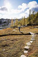 A woman walking a path of stones, Enchantment Lakes Wilderness Area, Washington Cascades, USA.