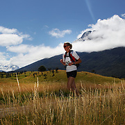Jessica Uren in action during the run leg of the Paradise Triathlon and Duathlon series with breathtaking views of Mount Aspiring National Park, Paradise, Glenorchy, South Island, New Zealand. 18th February 2012. Photo Tim Clayton