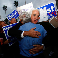 ST. PETERSBURG, FL -- November 2, 2010 -- Senate candidate Gov. Charlie Crist hugs supporters after casting his ballot at the Coliseum in downtown St. Petersburg, Fla., early on the Mid-Term Election Day on Tuesday, November 2, 2010.  Crist, who is running as an Independent, is in a three-way race for the seat against Republican Marco Rubio and Democrat Kendrick Meek.