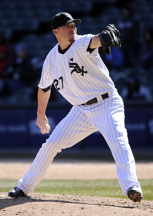CHICAGO - APRIL 03:  Matt Lindstrom #27 the Chicago White Sox pitches against the Kansas City Royals on April 3, 2013 at U.S. Cellular Field in Chicago, Illinois.  The White Sox defeated the Royals 5-2.  Ramirez was charged with an error on the play.(Photo by Ron Vesely)   Subject: Matt Lindstrom