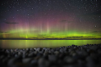 The Aurora Borealis makes a brief but dazzling appearance over Lake Superior.<br /> Pictured Rocks National Lakeshore<br /> Michigan's Upper Peninsula