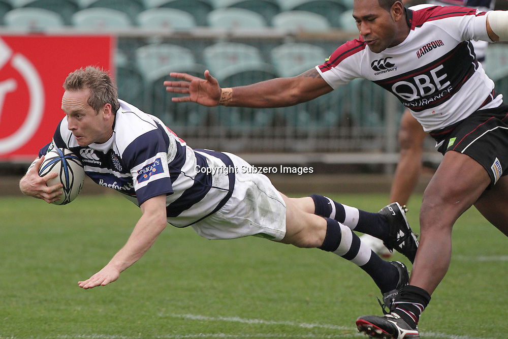 Auckland fullback Brent Ward scores a try. ITM Cup. North Harbour versus Auckland. North Harbour Stadium, Auckland, New Zealand. 1 August 2010. Photo: Gareth Cooke/Photosport