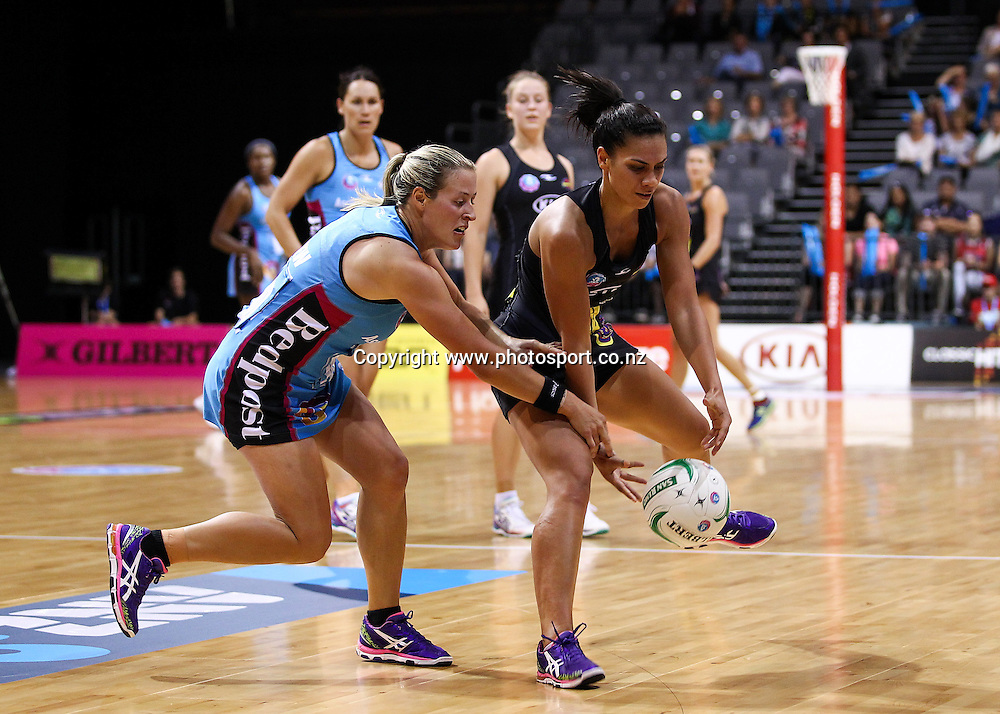 Southern Steel's Wendy Frew and Waikato BOP Magic's Grace Rasmussen compete for a loose ball during the ANZ Netball Championship - Waikato BOP Magic v Southern Steel at Claudelands Arena, Hamilton on Monday 17 March 2014. Photo: Bruce Lim / www.photosport.co.nz