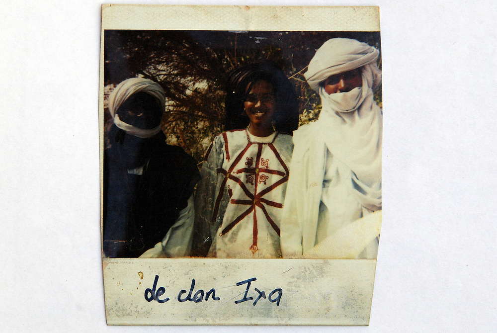 Niger,Agadez,2007. A re-photographed Polaroid image from the family collection, showing from right to left,  Mohammad Ixa, Halimata Ixa, and an unnamed friend.