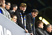 Leeds fans in the upper terrace of the away stand during the The FA Cup 3rd round match between Queens Park Rangers and Leeds United at the Loftus Road Stadium, London, England on 6 January 2019.
