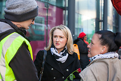 London, UK. 14th February, 2019. Rebecca Long-Bailey (c), Shadow Secretary of State for Business, Energy and Industrial Strategy, shows solidarity on a Valentine's Day-themed picket line outside the Department of Business, Energy and Industrial Strategy (BEIS) with outsourced support staff from the Public & Commercial Services (PCS) union taking strike action to demand the London Living Wage and an end to outsourcing.