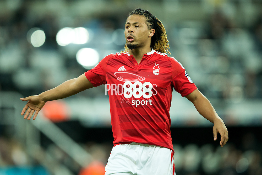 Nottingham Forest defender Hildeberto Pereira (#17) reacts during the EFL Sky Bet Championship match between Newcastle United and Nottingham Forest at St. James's Park, Newcastle, England on 30 December 2016. Photo by Craig Doyle.