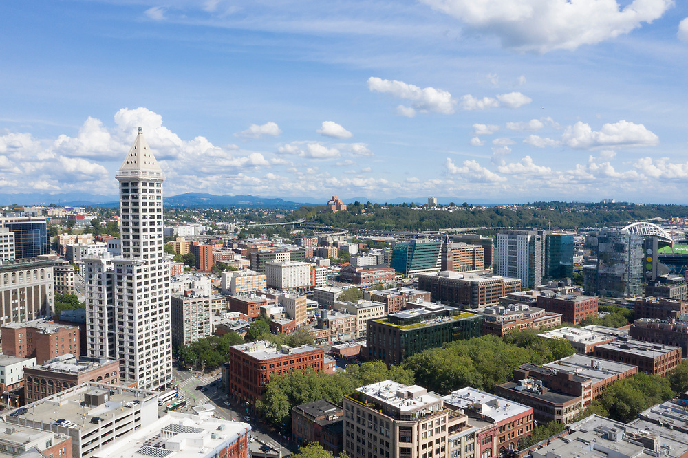 United States, Washington, Seattle.  Smith Tower and downtown (aerial view)