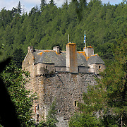 Neidpath Castle, Peebles, Scottish Borders on the banks of the River Tweed. Owned by the Earl of Wemyss