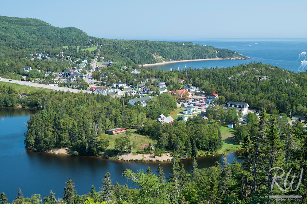 View of Tadoussac and Saint Lawrence River From Colline de L'anse a la Barque Trail, QC, Canada