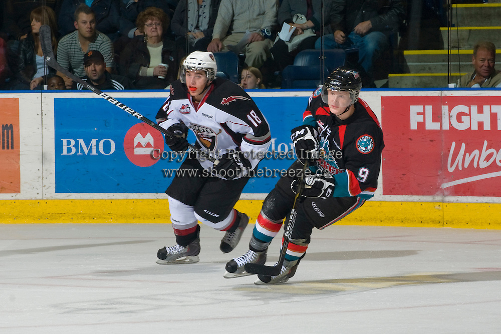 KELOWNA, CANADA, OCTOBER 1: Zach Frank #9 of the Kelowna Rockets skates against the Anthony Ast #18 of the Vancouver Giants on October 1, 2011 at Prospera Place in Kelowna, British Columbia, Canada (Photo by Marissa Baecker/Getty Images) *** Local Caption ***