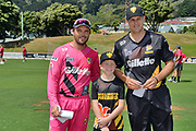 Wellington Firebirds' 13th man Blake Smith seen with the toss with the captains of Firebirds' Hamish Bennett (R) and Knights' Daniel Flynn (L) during the Burger King Super Smash game between Wellington Firebirds vs Northern Knights, Basin Reserve, Wellington, Saturday 12th January 2019. Copyright Photo: Raghavan Venugopal / © www.Photosport.nz 2019