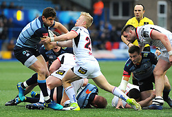 Rob Lyttle of Ulster Rugby competes with Lloyd Williams of Cardiff Blues - Mandatory by-line: Nizaam Jones/JMP- 24/03/2018 - RUGBY - BT Sport Cardiff Arms Park- Cardiff, Wales - Cardiff Blues v Ulster Rugby - Guinness Pro 14