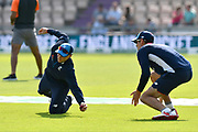 Joe Root of England having slip catching practice with Alastair Cook of England during the warm up before day two of the fourth SpecSavers International Test Match 2018 match between England and India at the Ageas Bowl, Southampton, United Kingdom on 31 August 2018.