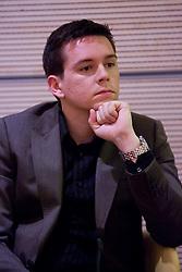 Boris Zugic (TV3) na okrogli mizi na temo o vlogi medijev (predvsem televizije), pri popularizaciji in razvoju slovenskega nogometa v organizaciji SportForum Slovenija, Austria Trend Hotel, Ljubljana, 23. april 2009. (Photo by Vid Ponikvar / Sportida)