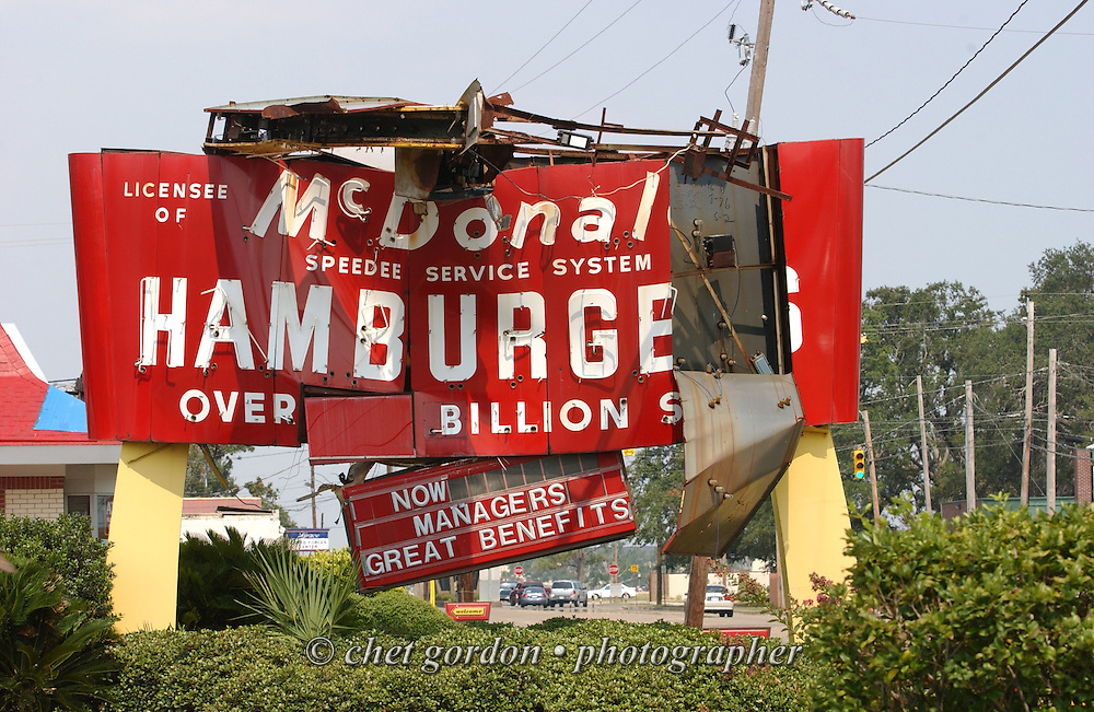 Storm damaged McDonald's sign in Biloxi, MS on Tuesday, June 27, 2006. Hurricane Katrina struck the Gulf states 10 months ago.