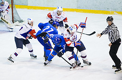 Vincent Rocco of Italy vs Gasper Kopitar of Slovenia during Friendly Ice-hockey match between National teams of Slovenia and Italy on April 5, 2013 in Ice Arena Tabor, Maribor, Slovenia. (Photo By Vid Ponikvar / Sportida)