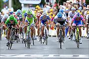 CAVENDISH Mark (HTC - HIGHROAD - GBR) - OSS Daniel (LIQUIGAS-CANNONDALE - ITA) - FARRAR Tyler (TEAM GARMIN - CERVELO - USA) - PETACCHI Alessandro (LAMPRE - ISD - ITA)<br /> , Cycling : Tour De France - Stage 15 - Limoux - Montpellier  - 17.07.2011 -