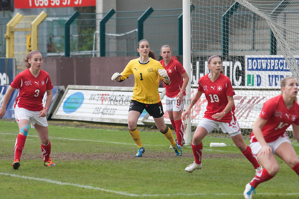 21120413 - HARELBEKE, BELGIUM : Switzerland's  Nicole Studer (1)  is pictured here  during the Second qualifying round of U17 Women Championship between Switzerland and Belgium on Friday April 13th, 2012 in Harelbeke, Belgium.