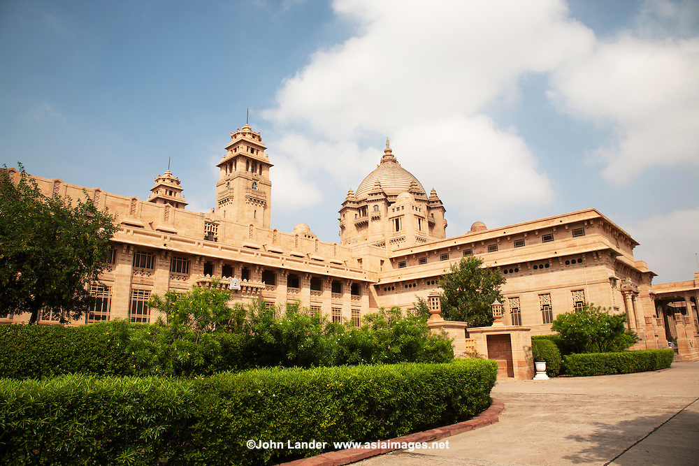 Umaid Bhawan Palace in Jodhpur is one of the world's largest private residences with 347 rooms,  The palace serves as the residence of the Jodhpur royal family.  The palace was also built to provide employment to thousands of people during a time of famine in India.