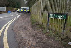 © London News Pictures. 24/03/2013 . Ascot, UK.  Police guard the entrance to Mill Lane in Ascot, Berkshire which leads to the home of Russian Oligarch Boris Berezovsky. Boris Berezovsky was found dead at him home yesterday (23/03/2013). Police are currently treating his death as unexplained.  Photo credit : Ben Cawthra/LNP