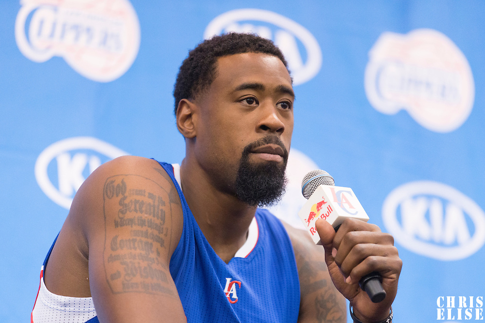29 September 2014: DeAndre Jordan is seen during the Los Angeles Clippers Media Day, at Los Angeles Clippers Training Facility, Playa Vista, California, USA.