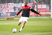 Salford City defender Nathan Pond warming up before the  EFL Sky Bet League 2 match between Salford City and Macclesfield Town at the Peninsula Stadium, Salford, United Kingdom on 23 November 2019.