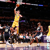 02 October 2017: Los Angeles Lakers guard Lonzo Ball (2) goes for the layup during the Denver Nuggets 113-107 victory over the LA Lakers, at the Staples Center, Los Angeles, California, USA.