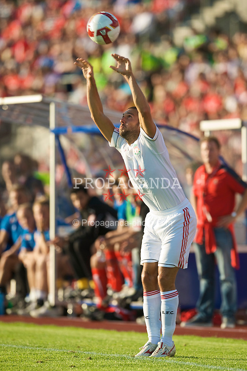 OSLO, NORWAY - Wednesday, August 5, 2009: Liverpool's Andrea Dossena in action against FC Lyn Oslo during a preseason match at the Bislett Stadion. (Pic by David Rawcliffe/Propaganda)