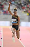Lorraine Ugen (GBR) places fourth in the women's long jump at  21-8¾ (6.62m) in the women's long jump during the IAAF Doha Diamond League 2019 at Khalifa International Stadium, Friday, May 3, 2019, in Doha, Qatar. Bor placed second in 8:08.41. (Jiro Mochizuki/Image of Sport)
