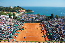 MONTE-CARLO, MONACO - Sunday, April 18, 2010: A general view of centre court as Rafael Nadal (ESP) takes on Fernando Verdasco (ESP) during the Men's Singles Final on day seven of the ATP Masters Series Monte-Carlo at the Monte-Carlo Country Club. (Photo by David Rawcliffe/Propaganda)