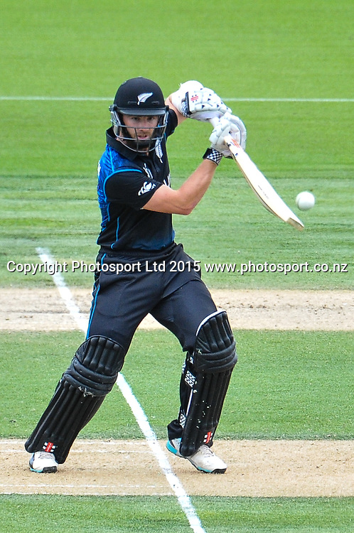 Kane Williamson of the Black Caps batting during the ICC Cricket World Cup match between New Zealand and Sri Lanka at Hagley Oval in Christchurch, New Zealand. Saturday 14 February 2015. Copyright Photo: John Davidson / www.Photosport.co.nz