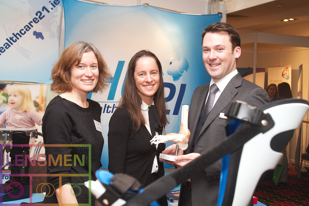 The Irish Society of Chartered Physiotherapists, in conjunction with Chartered Society of Physiotherapy, Northern Ireland, presents the 29th Annual Conference. .Innovation: Ideas into Action.Physiotherapy in a challenging environment. .CROKE PARK CONFERENCE CENTRE, DUBLIN 1.Fri 16 - Sat 17 November 2012. . .The Conference was opened by the Minister for Primary Care at the Department of Health, Mr Alex White TD at 9am on Friday morning...Picture at the conference were left to right:..Nessa waters, UCD, Mairead Connelly, Galway, Peter Woods, Healthcare21.....This will be followed by two days of intensive exploration of new research and technological advances in dealing with a range of chronic conditions where Chartered Physiotherapists play a vital role. These include:. .?        Reducing Patient Waiting Times: Changing healthcare delivery and utilising modern telecommunications and digital media.?        Obesity: With 350 million worldwide affected by this condition that now poses a serious risk to Irish children, what is being done to reverse this situation?.?        Education: What's in store for the growing number of ?Graduate Entries?, people who have left other careers to move into healthcare?.?        Sport:  Why do over a quarter of schoolboys who have suffered concussion in rugby not seek medical advice before returning to play?.?        Dance: Over ¾ of professional Irish dancers sustain an injury. Former dancer and now Chartered Physiotherapist Roisín Cahalan discusses her research..Photographs will be available from the venue..For further information: www.iscp.ie. Follow us on Twitter: @Chartered Physio and #ISCPconf2012.Please contact: Aoife Mac Eoin. Tel: 087-239 1984.. . .Conference 2012: New Technology and Research unveiled.Innovate: Ideas into Action - Physiotherapy in a Challenging Environment. .CONFERENCE 2012 opens next week with an exciting list of speakers from at home and abroad and a range of practical demonstrations and workshops..The Irish So