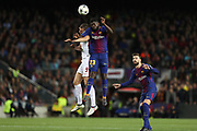 SAMUEL UMTITI of FC Barcelona duels for the ball with EDIN DZEKO of AS Roma during the UEFA Champions League, quarter final, 1st leg football match between FC Barcelona and AS Roma on April 4, 2018 at Camp Nou stadium in Barcelona, Spain - Photo Manuel Blondeau / AOP Press / ProSportsImages / DPPI