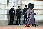 © Licensed to London News Pictures. 22/01/2015. London, UK. Police officers in the grounds of Buckingham Palace during The Changing of the Guard.  Armed police officers in and around central London today 22 January 2015. UK Foreign Secretary Philip Hammond said that ISIS is the greatest threat to the UK's security at the moment. Photo credit : Stephen Simpson/LNP