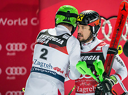 """Michael Matt (AUT) and Marcel Hirscher (AUT) after the 2nd Run of FIS Alpine Ski World Cup 2017/18 Men's Slalom race named """"Snow Queen Trophy 2018"""", on January 4, 2018 in Course Crveni Spust at Sljeme hill, Zagreb, Croatia. Photo by Vid Ponikvar / Sportida"""