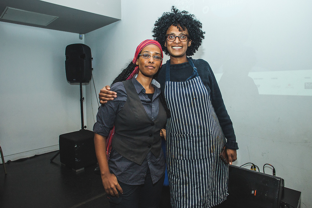 Photographer, Medhin Paolos (left) and Eritrean Chef, Makda Harlow during The Royal African Society's Annual Film Festival 2016. London, Tuesday 3 November 2016. (Photos/Ivan Gonzalez)