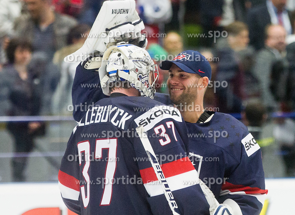 Connor Hellebuyck of USA and Jack Campbell of USA after winning during Ice Hockey match between USA and Finland at Day 1 in Group B of 2015 IIHF World Championship, on May 1, 2015 in CEZ Arena, Ostrava, Czech Republic. Photo by Vid Ponikvar / Sportida