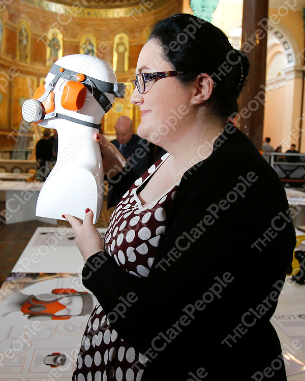 NO REPRO FEE<br /> 27/05/2014<br /> Noelle Tierney from Ennis, Co Clare pictured with her exhibit &quot;bo-gu&quot; at Design@UL Exhibition 2014 at the Former Franciscan Church, Henry Street, Limerick.<br /> Press Release<br /> UL Design Showcase in the Heart of Limerick City<br /> Students from six different design programmes in the University of Limerick are currently showcasing their work for the third year running in the generous space of the former Franciscan Church in Henry Street in Limerick City Centre. This extensive exhibition was launched by UL President Don Barry and UL Dean of The Faculty of Science &amp; Engineering Prof. Edmund Magner on Tuesday 27th May at 7pm. The exhibition is now open  to the public  from 10am to 5pm daily including weekends and will run until Friday 6th June 2014.<br /> The Design@UL annual exhibition  is a joint showcase of the very diverse design skills of UL future graduates. Students of Architecture, Product Design &amp; Technology, Digital Media Design, Interactive Media, Civil Engineering  and Architectural &amp; Engineering Technology are displaying their drawings, models, projections, photographs, prototypes, applications, texts, films and sketchbooks. &Ograve;This is STEAM thinking in action, where Science, Technology, Engineering and Mathematics (STEM) are augmented, and improved by Art and Design thinking (STEAM).  The University of Limerick is a natural home for STEAM thinking, but more importantly, for STEAM doing!&Oacute; said Merritt Bucholz, Professor at the School of Architecture University of Limerick (SAUL) <br />  <br /> Sheena Doyle<br /> Press Officer, University of Limerick<br /> 061 202219 / 086 3807859<br /> sheena.doyle@ul.ie <br /> <br /> Picture: Don Moloney / Press 22<br /> NO REPRO FEE<br /> 27/05/2014<br /> Noelle Tierney from Ennis, Co Clare pictured with her exhibit &quot;bo-gu&quot; at Design@UL Exhibition 2014 at the Former Franciscan Church, Henry Street, Limerick.<br /> Press Release<br /> UL Design Showcase in the Heart of Limerick City<br /> Students from six different design programmes in the University of Limerick are currently showcasing their
