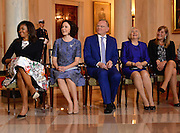 Michelle Obama and the spouses of the Nordic leaders.<br /> White House State Dinner the President and Mrs. Obama host the President of Finland Sauli Niinisto, the Prime Minister of Sweden, Stefan Lofen, the Prime Minister of Norway, Erna Holberg, the Prime Minister of Denmark Lars Lokke Rasmussen and the Prime Minister of Iceland, Sigurdur Ingi Johannsson,