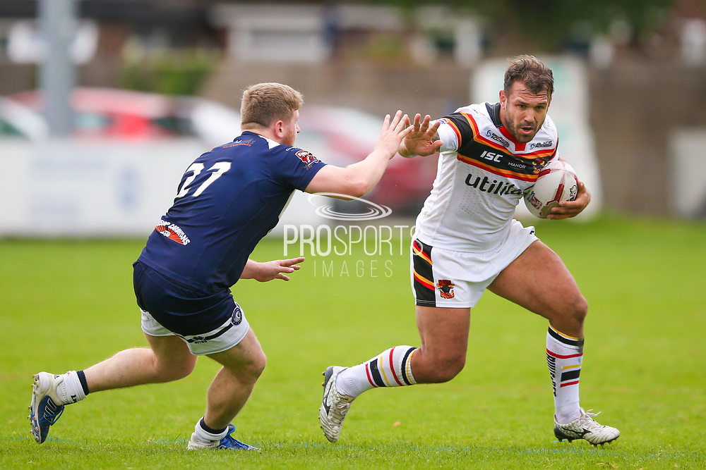 Bradford Bulls hooker Scott Moore (34) on the charge  during the Kingstone Press Championship match between Swinton Lions and Bradford Bulls at the Willows, Salford, United Kingdom on 20 August 2017. Photo by Simon Davies.