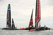 The Great Sound, Bermuda. 11th June 2017. Emirates Team New Zealand and Artemis Racing (SWE) in race five of the Louis Vuitton America's Cup Challenger playoff finals. ETNZ won the race to go ahead to 3 - 2.